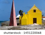 Historic salt production collection point and marker on the island of Bonaire, Netherlands Antilles
