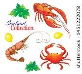 decorative seafood vector set.... | Shutterstock .eps vector #1451222078