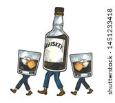 whiskey alcohol bottle with ice ... | Shutterstock .eps vector #1451233418