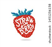 strawberry lettering  hand... | Shutterstock .eps vector #1451256158