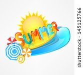 stylish logo of summer. raster... | Shutterstock . vector #145125766