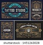set of 4 vintage labels for... | Shutterstock .eps vector #1451263028