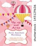 happy birthday air balloon card ... | Shutterstock .eps vector #145129636