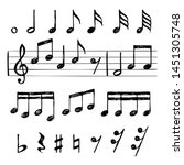 music notes. black treble clef... | Shutterstock .eps vector #1451305748
