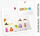 cute and colorful card new year ... | Shutterstock .eps vector #145130716