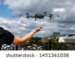 drone landing on hand. drone...   Shutterstock . vector #1451361038