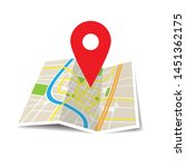 location icon vector. pin sign... | Shutterstock .eps vector #1451362175