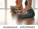 two woman doing yoga flow in...   Shutterstock . vector #1451394662