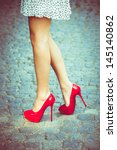 woman legs in red high heel... | Shutterstock . vector #145140862