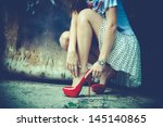 Woman Legs In Red High Heel...