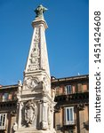 Historic architecture in Saint Dominic square in beautiful Naples, Italy