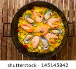 Seafood Paella In Black Pan  ...