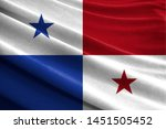 realistic flag of panama on the ... | Shutterstock . vector #1451505452