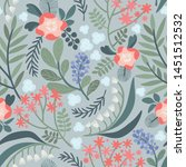 seamless vector floral pattern. ... | Shutterstock .eps vector #1451512532