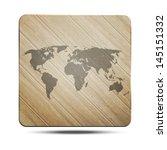 new wooden icon with world map... | Shutterstock .eps vector #145151332