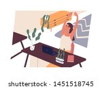 happy girl sitting at desk with ... | Shutterstock .eps vector #1451518745