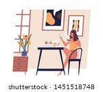cute girl sitting at table ... | Shutterstock .eps vector #1451518748