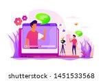 cartoon blogger streaming... | Shutterstock .eps vector #1451533568