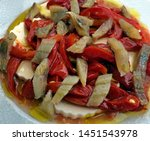 Stock photo salad of smoked herrings and red peppers 1451543978
