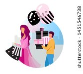 shopping flat concept vector... | Shutterstock .eps vector #1451546738