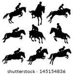 set of a jumping horse with... | Shutterstock .eps vector #145154836