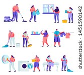 set of flat cleaning and repair ... | Shutterstock .eps vector #1451590142