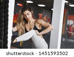 woman in the middle of warm up...   Shutterstock . vector #1451593502