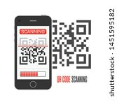 scan qr code on smartphone.... | Shutterstock .eps vector #1451595182