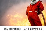 2 firefighters in protection...   Shutterstock . vector #1451599568