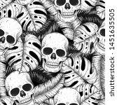 skull and palm leaves seamless... | Shutterstock .eps vector #1451635505