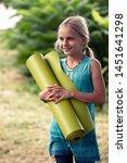 blond smiling caucasian girl...   Shutterstock . vector #1451641298