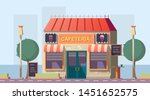 Stock vector roadside cafeteria or road cafe building with menu banner neon glowing signboards and outdoor 1451652575
