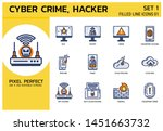 filled line icons style. hacker ...