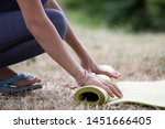 cropped image of girl rolling...   Shutterstock . vector #1451666405