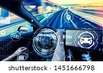 person driving a new electric... | Shutterstock . vector #1451666798