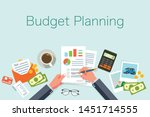 budget planning concept in flat ... | Shutterstock .eps vector #1451714555
