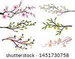 branch set color silhouette... | Shutterstock .eps vector #1451730758