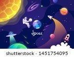 kids cartoon space banner....   Shutterstock .eps vector #1451754095