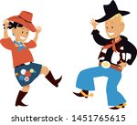 two cute cartoon kids dancing... | Shutterstock .eps vector #1451765615