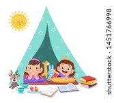 kids play on tent vector...   Shutterstock .eps vector #1451766998