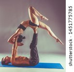 young couple practicing acro...   Shutterstock . vector #1451775785