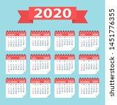 2020 year calendar leaves flat...   Shutterstock .eps vector #1451776355