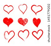 set of hand drawn hearts.... | Shutterstock .eps vector #1451779202