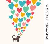 Stock vector cat in love vector illustration 145182676