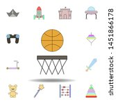 cartoon basketball toy colored...