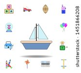 cartoon ship toy colored icon....