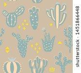 cartoon cactuses seamless... | Shutterstock .eps vector #1451866448