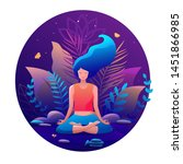 woman sitting in lotus position ... | Shutterstock .eps vector #1451866985