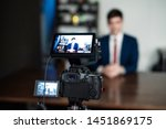 youtuber concept. young... | Shutterstock . vector #1451869175