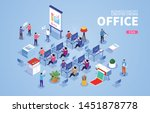 isometric office scene with... | Shutterstock .eps vector #1451878778